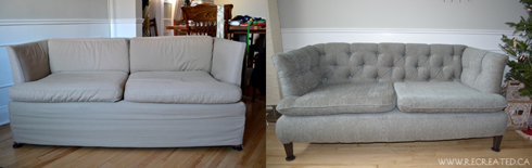 before and after - amber tufted sofa - blog