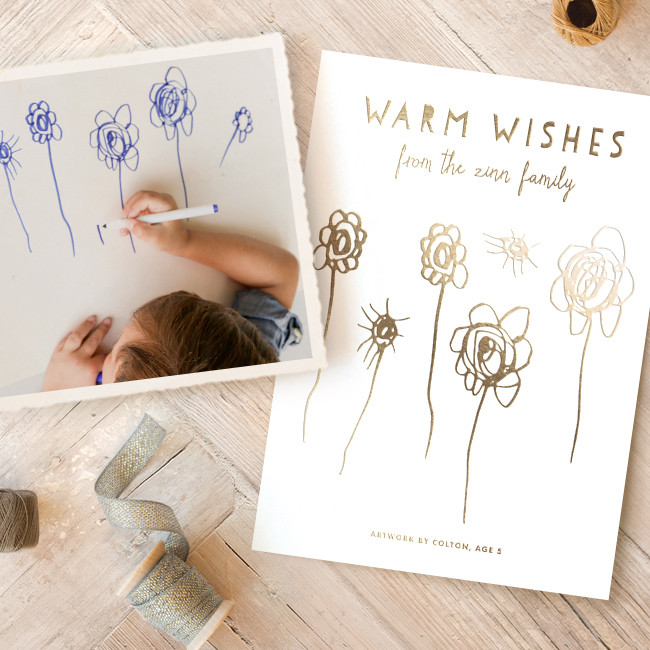 Minted Holiday Your Drawing as a Holiday Card foil (1)